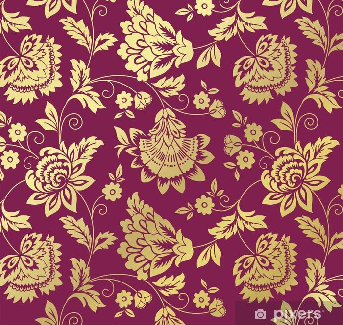 Poster Wasserlilien, Blumenmuster, Textildesign, royal Indien - Hintergründe