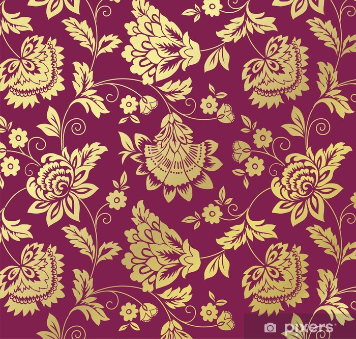 water lilies, floral pattern, textile design, royal India Poster - Backgrounds
