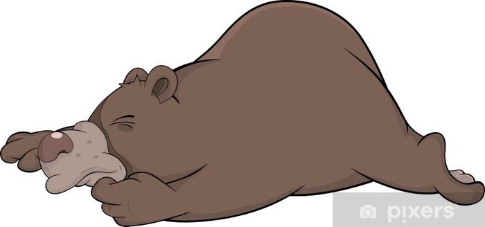 Carta da parati dormire orso bruno. cartone animato u2022 pixers
