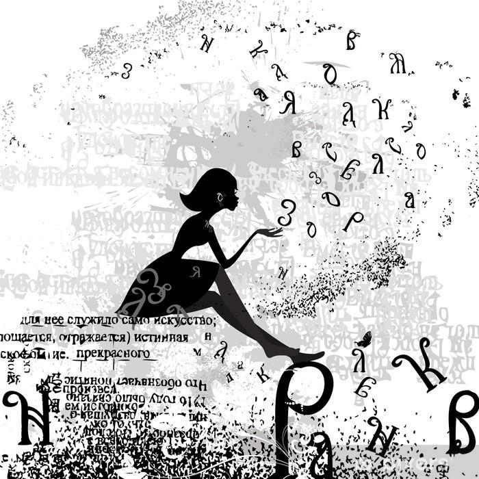 Türaufkleber Abstrakten Design mit einem Mädchen grunge Text - Mode
