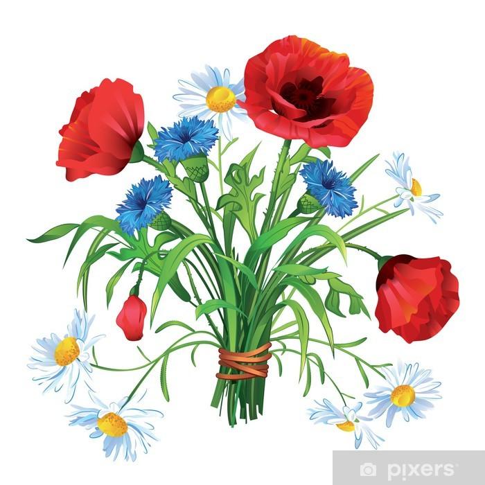 Mazzo Di Fiori Di Campo.Colorful Summer Bouquet Of Wildflowers On A White Background