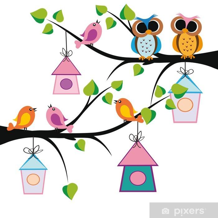 Adesivo Pixerstick Bambini divertenti sfondo - Uccelli