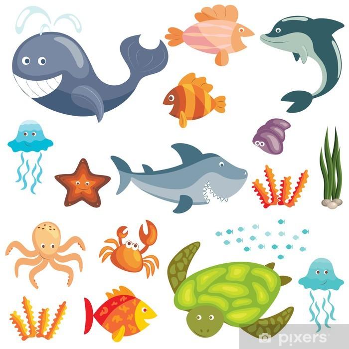 Marine animals set Pixerstick Sticker - Wall decals