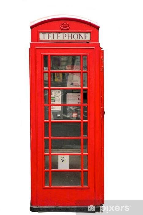 Papier peint vinyle British Red Phone Booth isolé sur blanc -