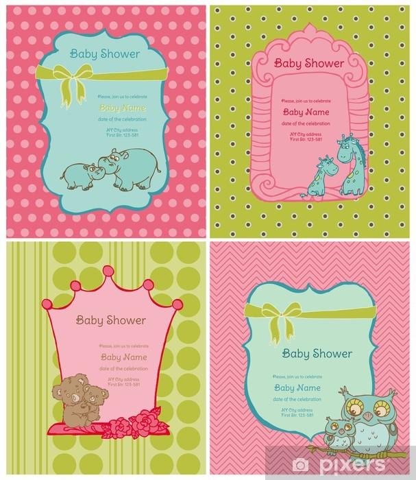 Sticker Pixerstick Jeu de Cartes Baby Shower avec place pour votre texte en vecteur - Signes et symboles