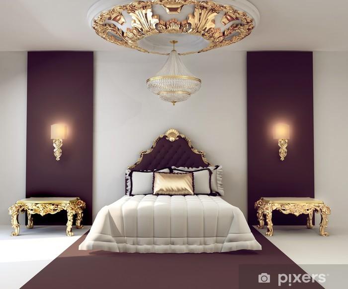 Adesivo Di lusso camera da letto matrimoniale con mobili d\'oro in ...