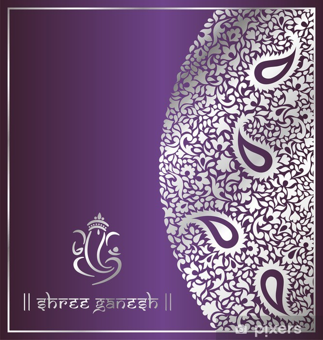 Naklejka Pixerstick Ganeśa, tradycyjny hinduski projekt karty ślub, indie - Świętowanie