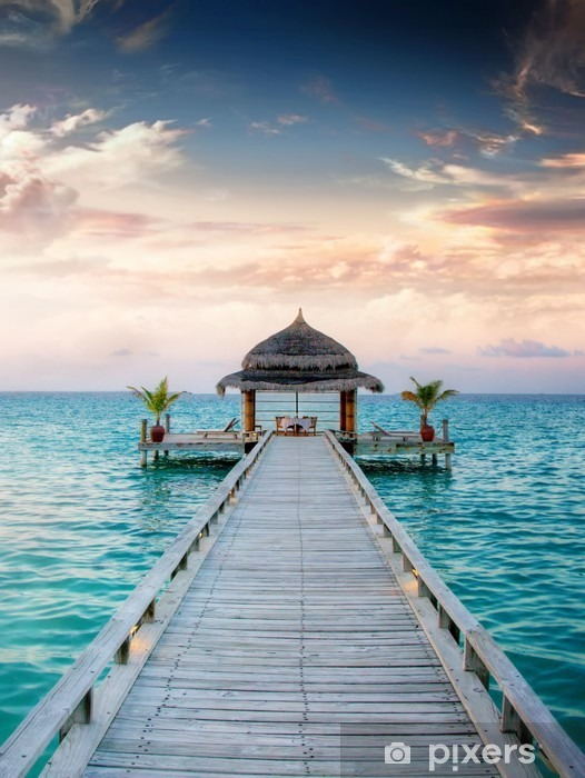 Fotomural Estándar Puesta del sol / salida del sol Embarcadero en las Maldivas / Malediven -