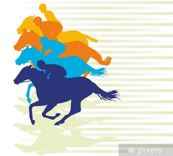 Nálepka Pixerstick Horse Race Finish - Zápasy a soutěže