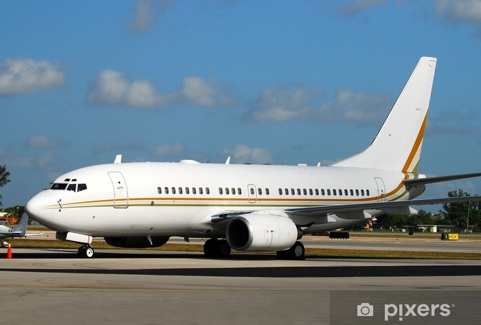 Fototapeta winylowa Nowoczesny samolot pasażerski w oczekiwaniu na lot na pasie startowym - Transport powietrzny