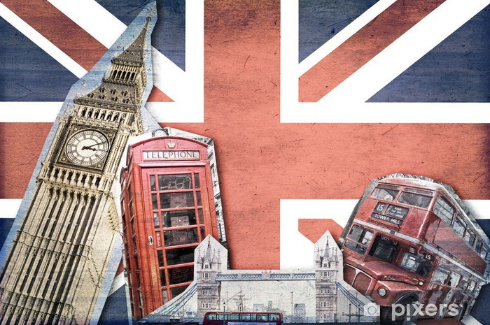 Vinyl Fotobehang Collage Londen Union Jack -
