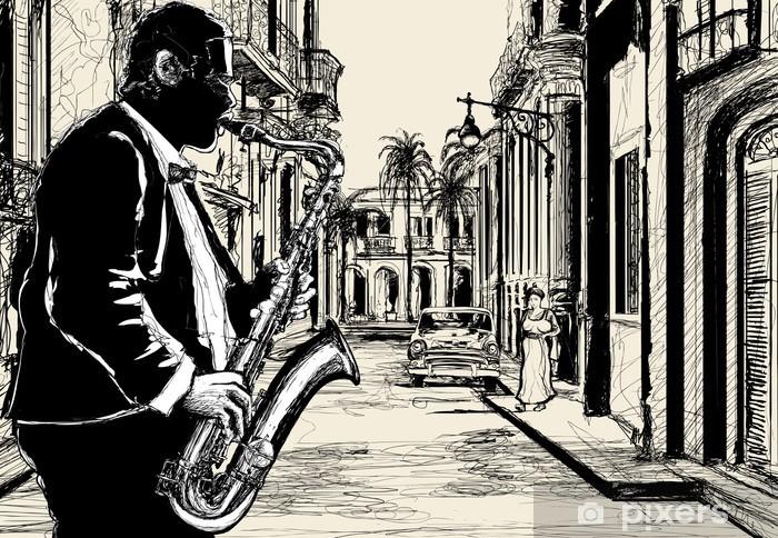 saxophonist in a street of Cuba Vinyl Wall Mural - Music