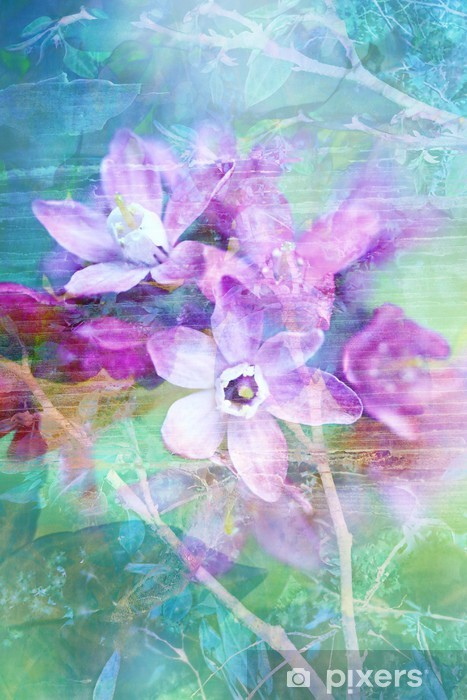 Vinilo para Nevera Flores naturales grunge fondo hermoso, artístico - Temas