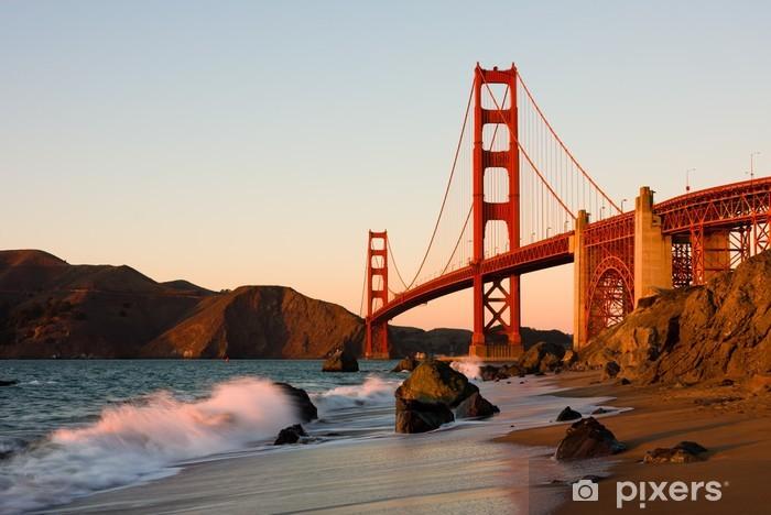 Golden Gate Bridge in San Francisco at sunset Pixerstick Sticker - Themes