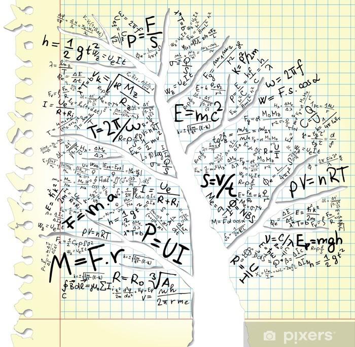 Poster Papier avec des arbres et des équations - Education