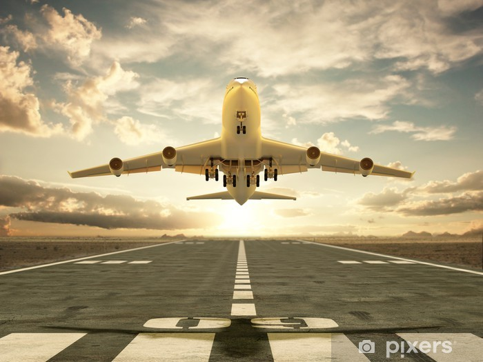 Papier peint vinyle Avion décollant au coucher du soleil - Thèmes