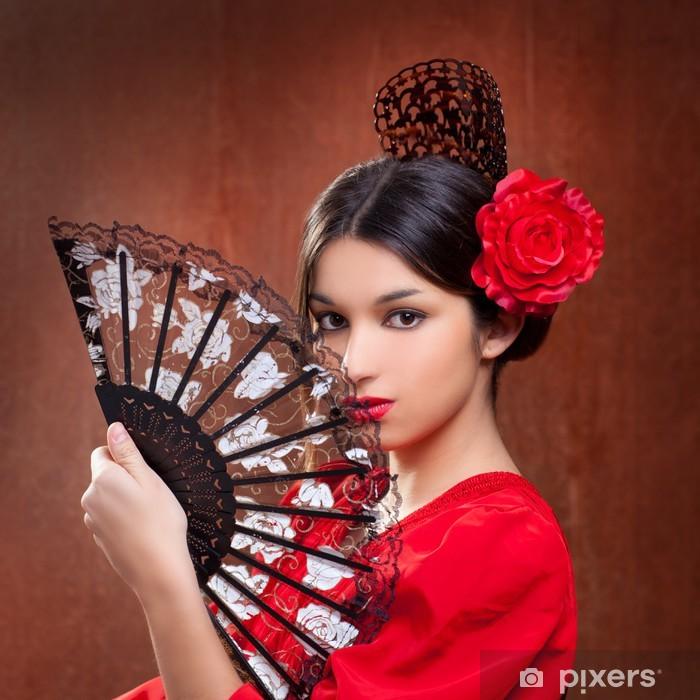Pixerstick Sticker Flamencodanseres vrouw zigeuner rode roos Spaanse ventilator - Thema's