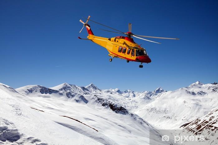 Sticker Pixerstick Alpine sauvetage par hélicoptère - Dans les airs
