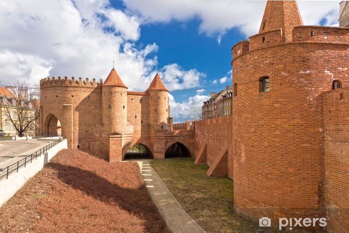 Vinilo Pixerstick Lugares de interés de Polonia. Ciudad vieja de Varsovia con el Renacimiento Barbican - Temas