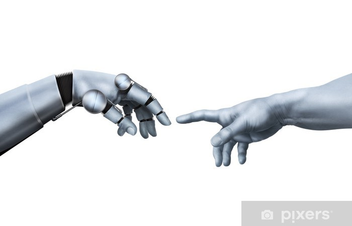 Papier peint vinyle Michel-Ange: La Création d'Adam. Main Robotique. - Parties du corps