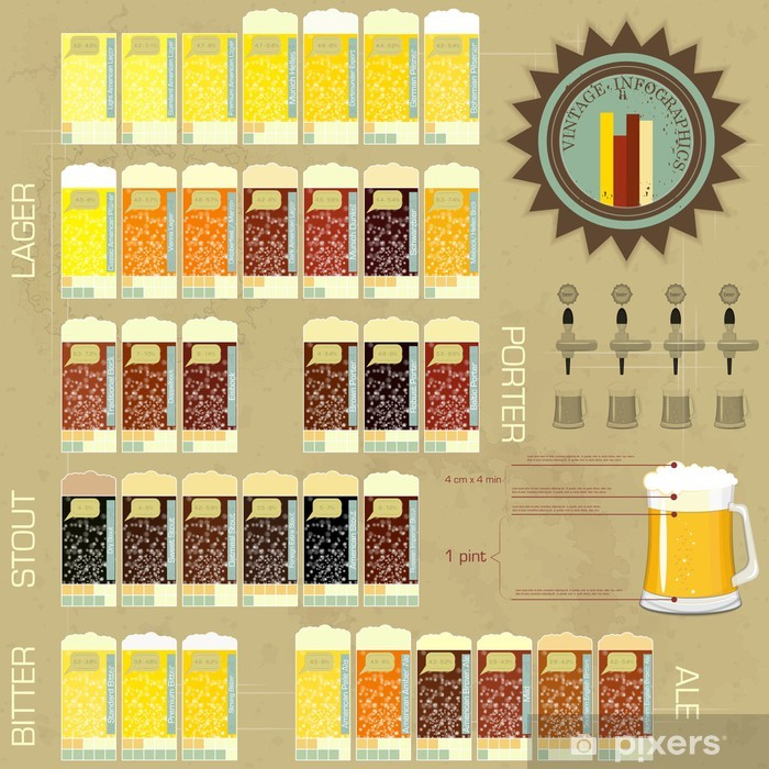 Vintage infographics set - beer icons Vinyl Wall Mural -