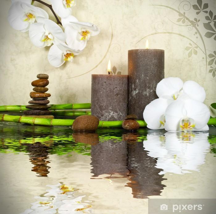Orchidee weiß mit Bambus und Kerzen und Steinen Pixerstick Sticker - Styles