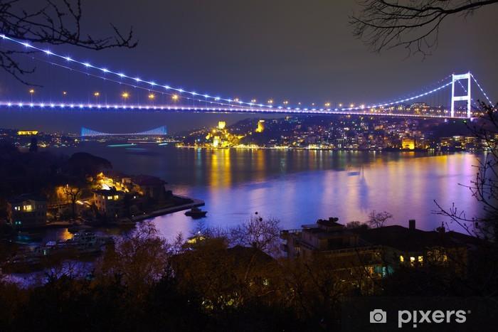 Vinyl Fotobehang Fatih Sultan Mehmet-brug, in de nacht 6 - Thema's