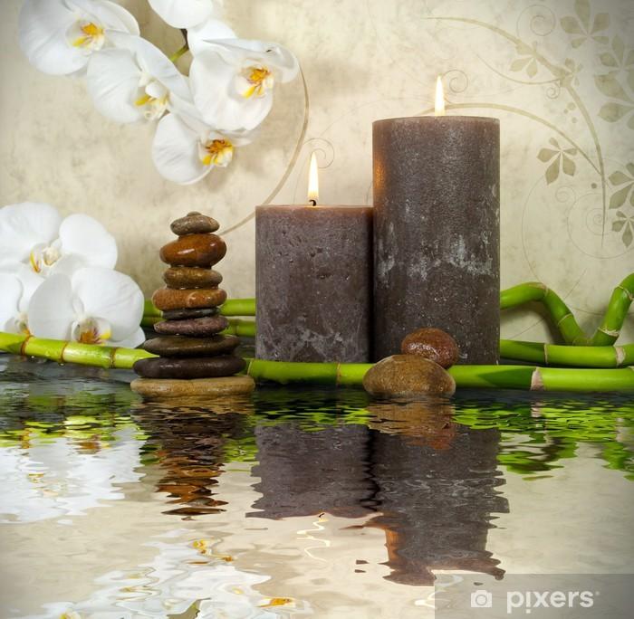 Orchidee Mit Bambus Kerzen Und Steinen Wall Mural Pixers We