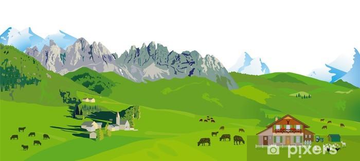 Pixerstick Aufkleber Bergpanorama - Landwirtschaft