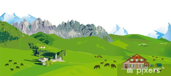 Papier peint vinyle Montagne panorama - Agriculture
