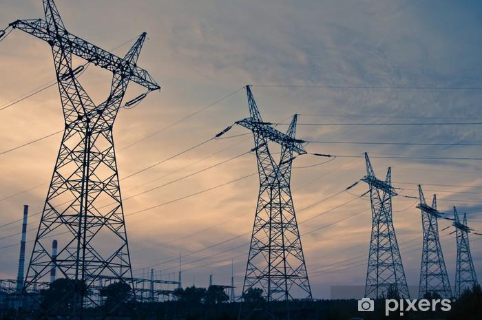 Papier Peint Autocollant Pylône et la ligne de puissance de transmission au coucher du soleil - Bâtiments commerciaux et industriels