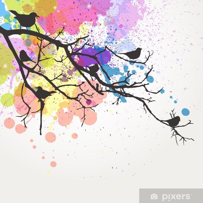 Carta da Parati in Vinile Vector Ramo con uccelli su uno sfondo astratto - Stili
