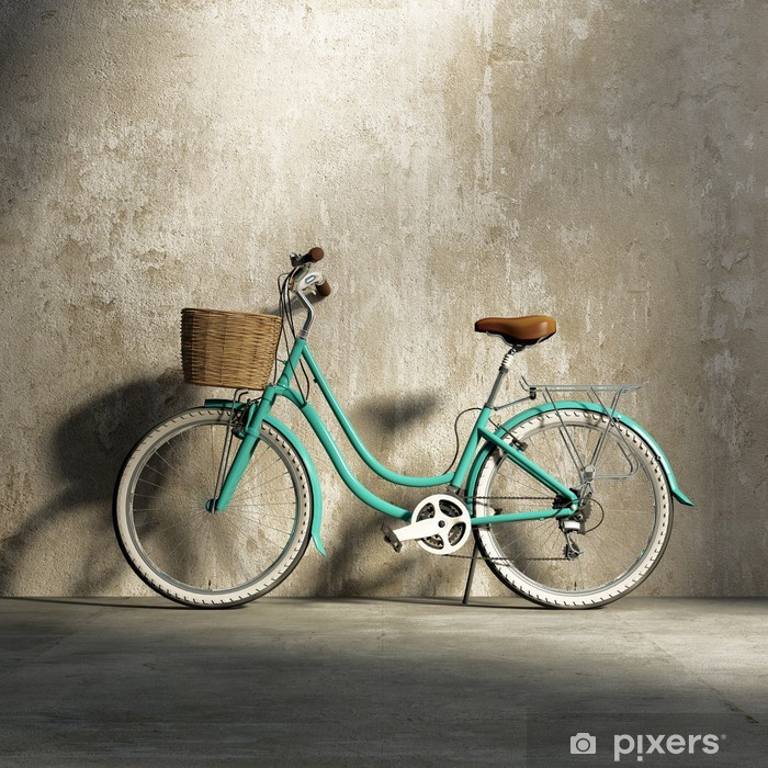 Old vintage romantic green bicycle, stylish basket grungy wall Pixerstick Sticker - Styles