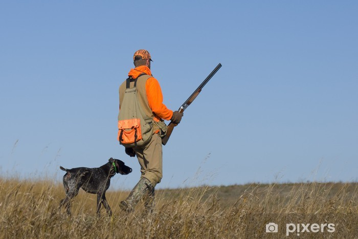 Out Pheasant Hunting Pixerstick Sticker - Mammals