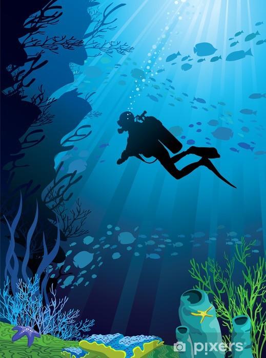 Fototapeta winylowa Piękna rafa koralowa i sylwetki nurka - Pod wodą