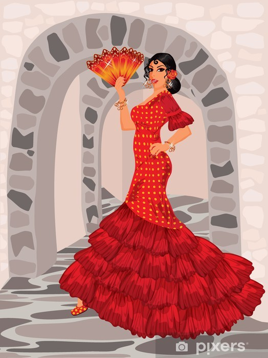 Spanish woman in style of a flamenco Pixerstick Sticker - Fashion
