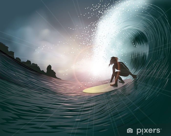 surfer and wave Vinyl Wall Mural - Themes