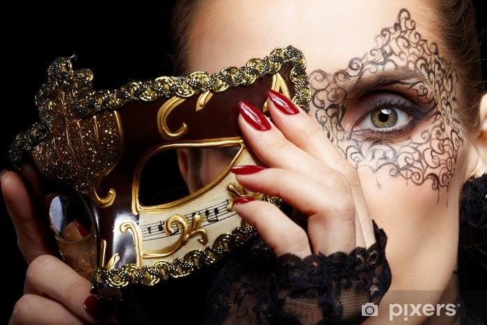 Sticker Pixerstick Femme magnifique dans le masque - Tatouages