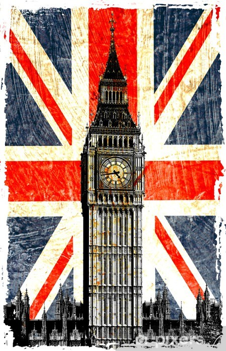 drapeau anglais big ben vertical Vinyl Wall Mural -