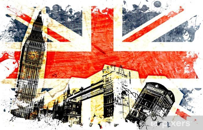 drapeau anglais decoupe Self-Adhesive Wall Mural -