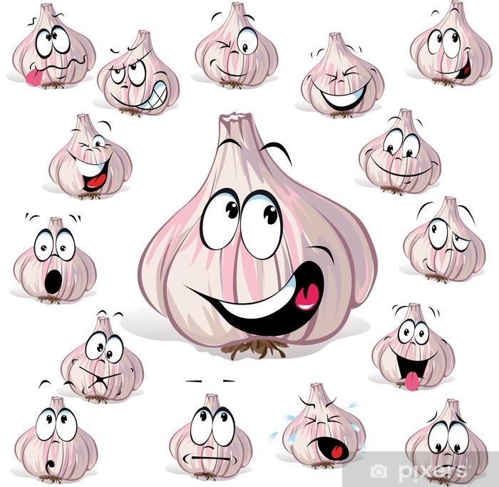 Vinilo Cabeza De Dibujos Animados De Ajo Con Muchas Expresiones Pixerstick