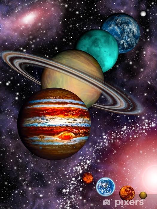 Naklejka Pixerstick 9 planet Układu Słonecznego, pas asteroid i galaktyka spiralna. - Wszechświat