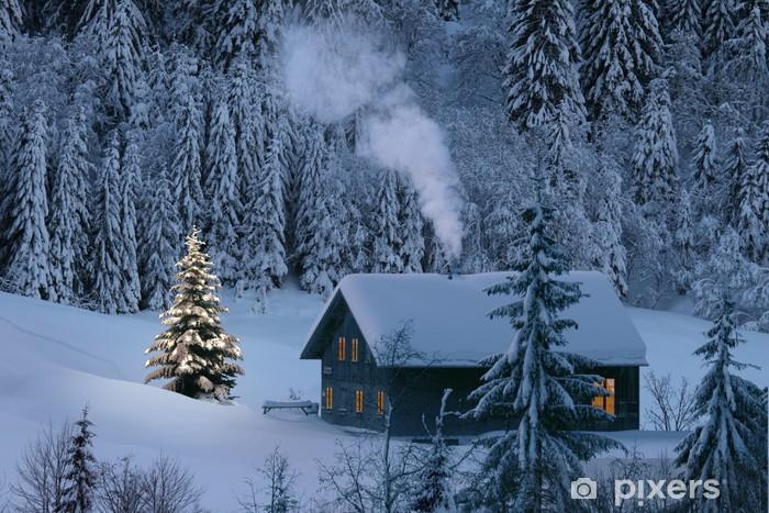 Sticker Pixerstick Chalet de montagne en hiver - Fêtes internationales