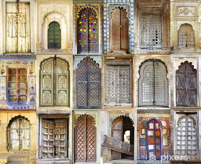 Pixerstick Sticker Collage van de oude Indiase deuren - Azië