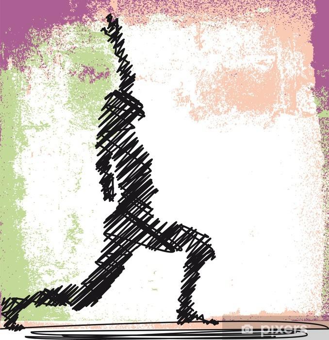 Fototapeta winylowa Streszczenie szkic kobieta medytacji i jogi. wektor - Sporty indywidualne