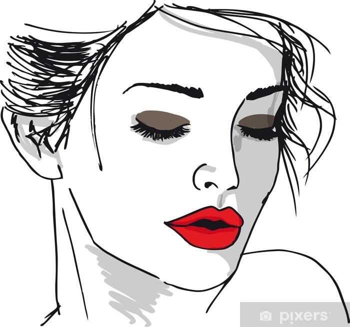 Pixerstick Sticker Schets van mooie vrouw gezicht. Vector illustratie - Thema's