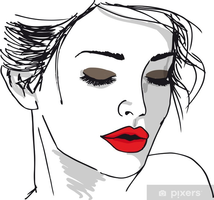 Sketch of beautiful woman face. Vector illustration Vinyl Wall Mural - Themes
