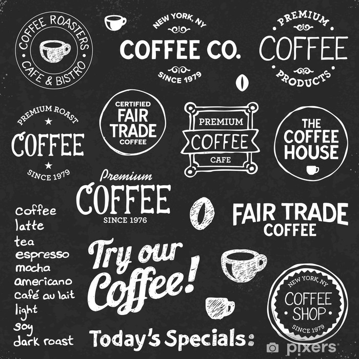 Coffee chalkboard text and symbols Pixerstick Sticker - Cafe