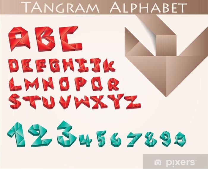 Naklejka Pixerstick Grafika tangram alfabetu litery i cyfry - Tematy