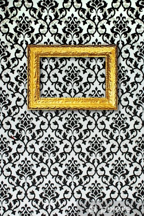 Adesivo Cornice Oro Su Uno Sfondo Bianco E Nero Pixers Viviamo